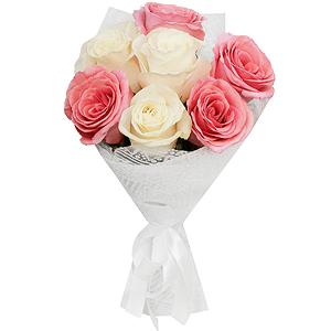 Букет из 7 белых и розовых роз
